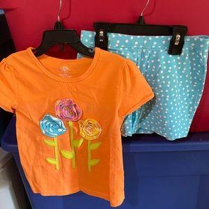 J. Khaki Girls Orange/Blue Polka Dot Outfit GUC 6X